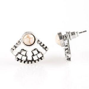 Stylishly Santa Fe - White Post Earrings